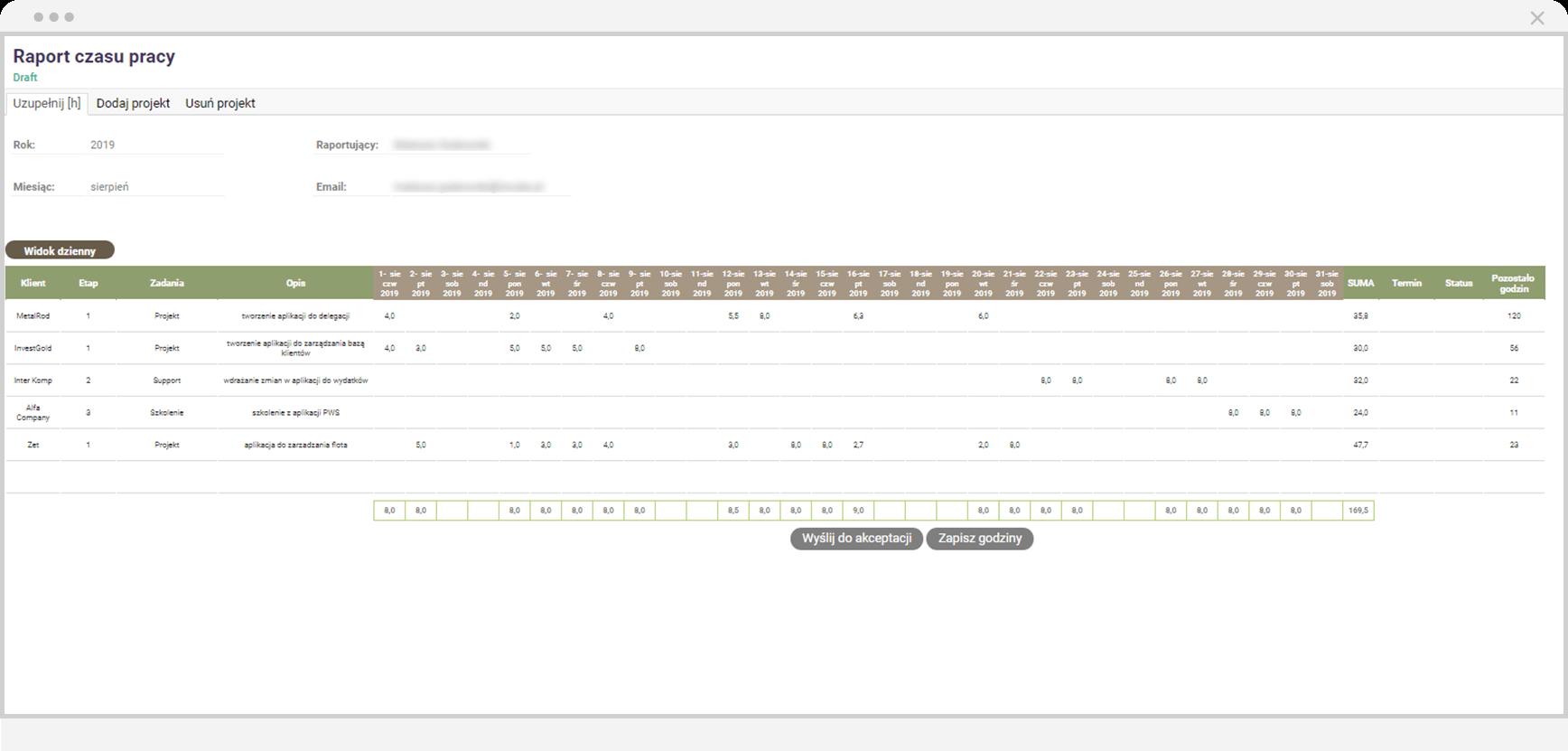 Aplikacja do ewidencji czasu pracy - Qalcwise